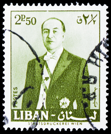 MOSCOW, RUSSIA - FEBRUARY 20, 2019: A stamp printed in Lebanon shows President Fuad Chehab, serie, circa 1960