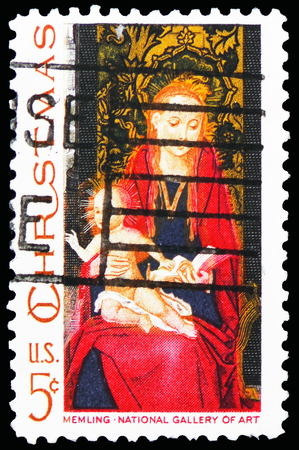 MOSCOW, RUSSIA - FEBRUARY 21, 2019: A stamp printed in United States shows Madonna and Child by Hans Memling, Christmas serie, circa 1967