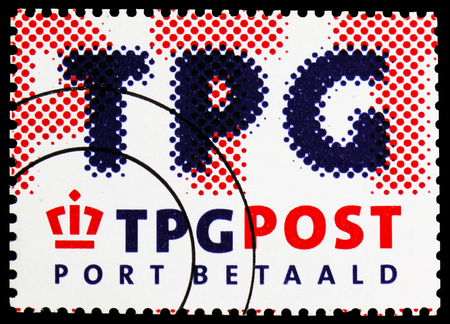 MOSCOW, RUSSIA - FEBRUARY 21, 2019: A stamp printed in Netherlands shows TPG POST, Port Betaald serie, circa 2003