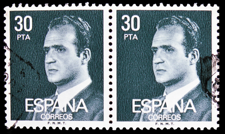 MOSCOW, RUSSIA - FEBRUARY 21, 2019: A stamp printed in Spain shows King Juan Carlos I, serie, circa 1984 Editorial