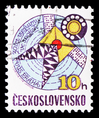 MOSCOW, RUSSIA - FEBRUARY 21, 2019: A stamp printed in Czechoslovakia shows Telecommunications research, 30th anniversary, serie, circa 1979 Sajtókép