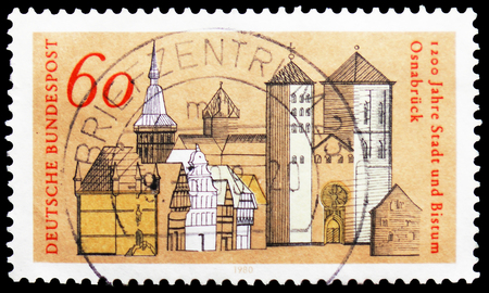 MOSCOW, RUSSIA - FEBRUARY 21, 2019: A stamp printed in Germany, Federal Republic shows Town Hall, Saint Mary's Church and Saint Peter's Cathedral, Osnabrück Town and Bishopric serie, circa 1980 Imagens - 120303720