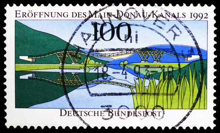 MOSCOW, RUSSIA - FEBRUARY 21, 2019: A stamp printed in Germany, Federal Republic shows New Wooden Bridge, Main-Donau Canal serie, circa 1992