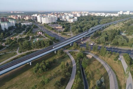 Wide angle view on Subway station Ulitsa Gorchakova and Butovo park from the birds sight, Moscow, Russia. Drone flight image Imagens