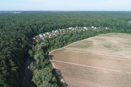 Aerial view of the Ozerki River Valley, Desna river valley, Podolsk region, Russia. Drone camera image
