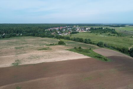 Aerial view of the village of Podolsk region, Russia. Drone camera image