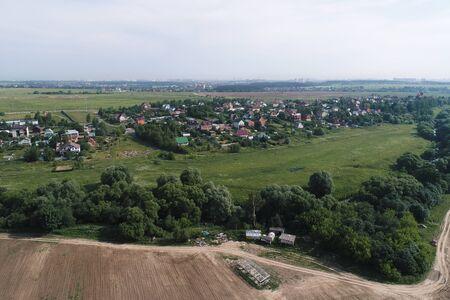 Aerial view of Podolsk region, Russia. Drone camera image