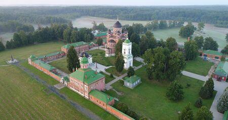 Spaso-Borodinsky monastery in Shevardino village from the birds sight, Moscow region, Mozhaysk district, Russia
