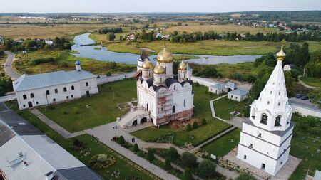 Luzhetsky Monastery from birds sight in Mozhaysk city, Moscow region, Russia