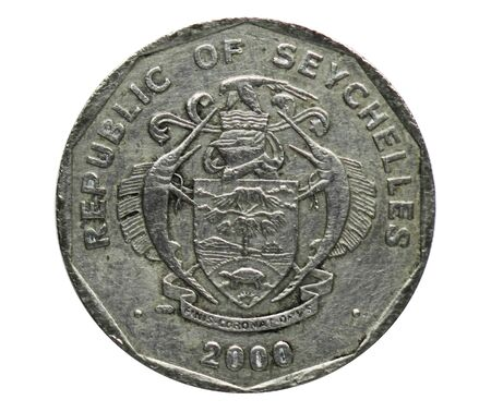 5 Rupees (Altered coat of arms) coin, Bank of Seychelles. Reverse, 1992 Imagens - 126116506