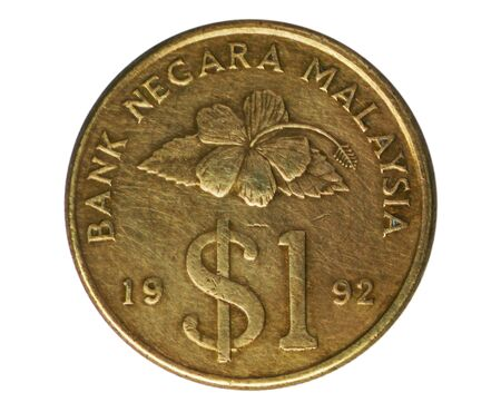 1 Ringgit ($1 type) coin, Bank of Malaysia. Obverse, 1989 Imagens
