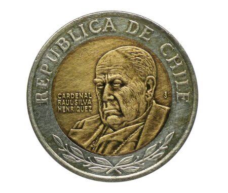 500 Pesos coin, Bank of Chile. Portrait of Cardinal Raul Silva Henriquez, Reverse, 1975 Imagens - 126116584