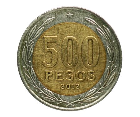 500 Pesos coin, Bank of Chile. Obverse, 1975