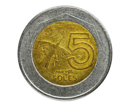 5 Nuevos (New) Soles coin, Bank of Peru. Obverse, issue 1994