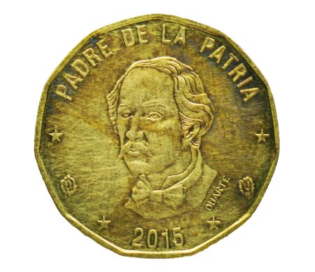 1 Peso coin, Bank of Dominicana. Reverse, Head of founding father Juan Pablo Duarte issue 1937 Imagens - 126116612