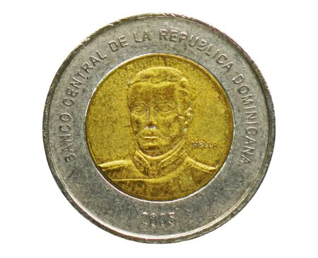 10 Pesos coin, Bank of Dominican Republic. Reverse, issue 2005 Imagens - 126116625
