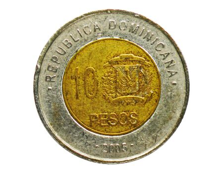 10 Pesos coin, Bank of Dominican Republic. Obverse, issue 2005 Imagens - 126116626
