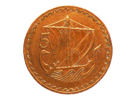 5 Mils (sailing ship) coin, Bank of Cyprus. Obverse, issue 1963 Imagens - 126116860