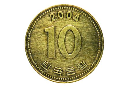 10 Won (thick 10) coin, 1962-Today Circulation serie, Bank of South Korea. Obverse, issue 1991 Imagens