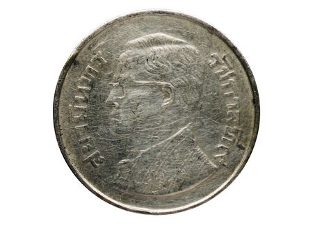 5 Baht coin, 1946-2008 Rama IX (Bhumipol Adulyadej) serie, Bank of Thailand. Obverse, 1977 Imagens - 127650135