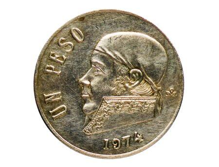 1 Peso coin, 1905~1992 - Estados Unidos Mexicanos (Circulation) serie, Bank of Mexico. Obverse, issue on 1970 Stock Photo