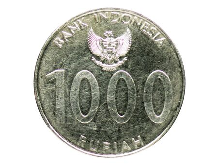1000 Rupiah (Angklung) coin, 1999-2010 - Fourth series, Bank of Indonesia. Obverse, issue on 2010 Imagens
