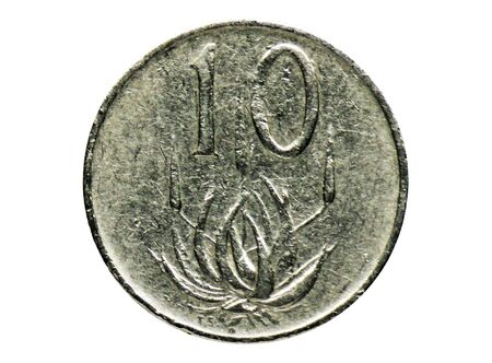 10 Cents (2nd President Jacobus Fouche - English - Afrikaans) coin, Bank of South Africa. Obverse, 1976