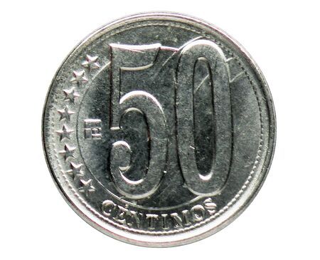 50 Centimos (Magnetic) coin, 2007~2016 - Bolivarian Republic of Venezuela - 2nd Series serie, Bank of Venezuela. Obverse, issued on 2012. Isolated on white Imagens