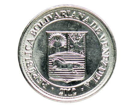 50 Centimos (Magnetic) coin, 2007~2016 - Bolivarian Republic of Venezuela - 2nd Series serie, Bank of Venezuela. Reverse, issued on 2012. Isolated on white