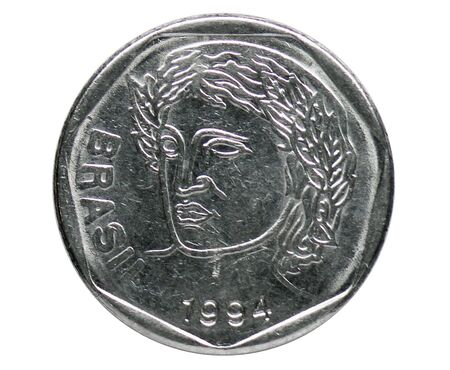 25 Centavos coin, 1994~Today - Real serie, Bank of Brazil. Reverse, issued on 1994. Isolated on white