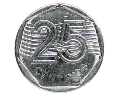 25 Centavos coin, 1994~Today - Real serie, Bank of Brazil. Obverse, issued on 1994. Isolated on white