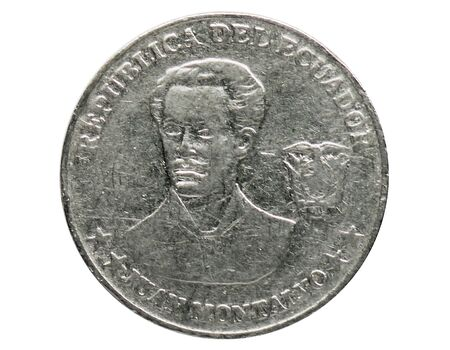 5 Centavos coin, 2000~Today - Dollarization serie, Bank of Ecuador. Reverse, issued on 2000. Isolated on white