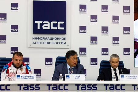 MOSCOW, RUSSIA - OCTOBER 3, 2019: Press conference of International Karate Tournament