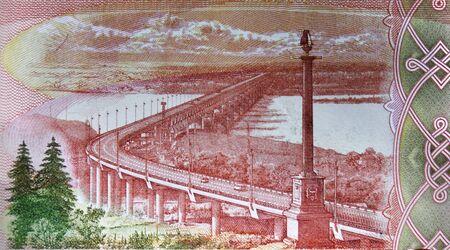 Russian 5000 rubles banknote closeup macro bill fragment. Khabarovsk Bridge or Amur miracle, crosses the Amur River Stok Fotoğraf