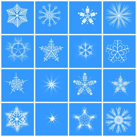 blizzards: Snowflake set vector illustration