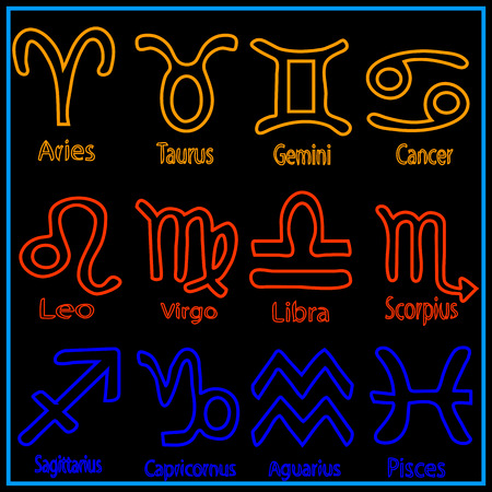signatures: Icon. set. of zodiac. signs, with signatures, names. of each sign.