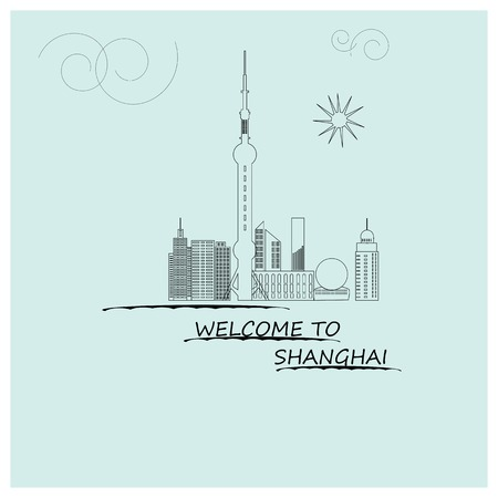 Graphic, outline, silhouette, urban, welcome, Shanghai, retro, color.