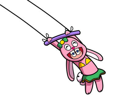 Circus show with pink rabbit hanging
