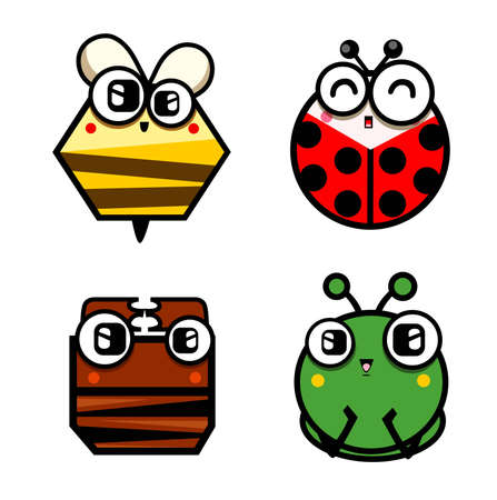 termite: Illustration of cute bee,ant,ladybug and termite