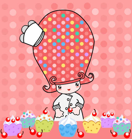 little chef: Illustration of little cute girl with cupcake
