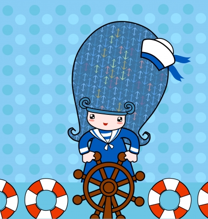 sailor girl: Illustration of little cute sailor girl