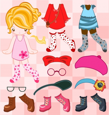 doll: Illustration of cute girl dressing up  Illustration