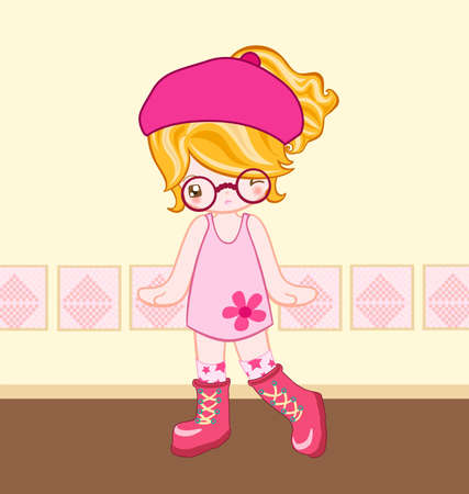 dressing up: Illustration of cute girl dressing up with pink dress