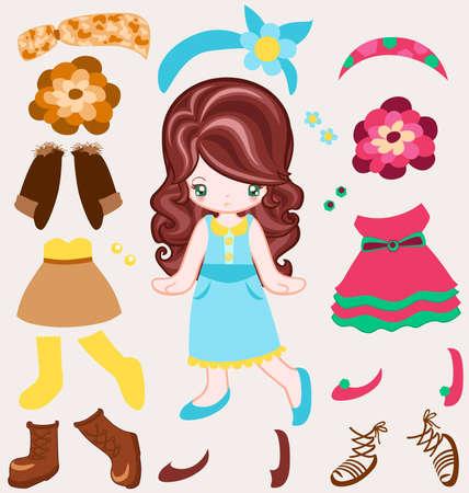 Illustration of girl dressing up Vintage-Stil
