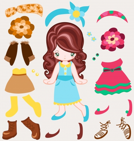 niños vistiendose: Ilustración de la niña vestirse estilo vintage Vectores