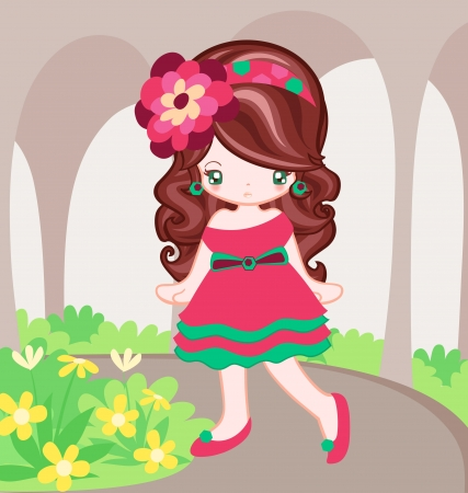 Illustration of girl dressing up pink dress vintage style Vector