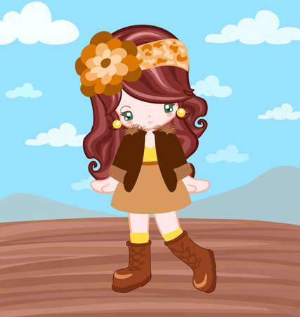 Illustration of girl dressing up vintage style in field and blue sky Vector