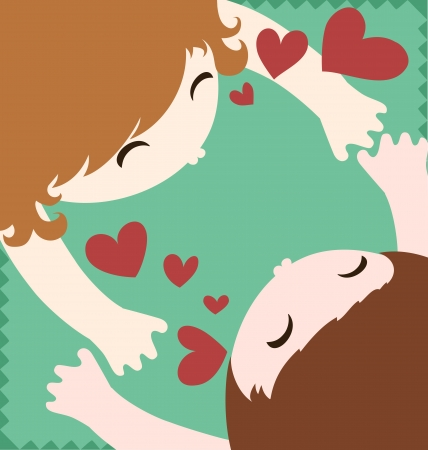 Cute couple embracing and kissing with love Stock Vector - 17381875