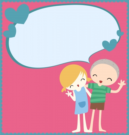 Cute couple with text bubble card Stock Vector - 17381876