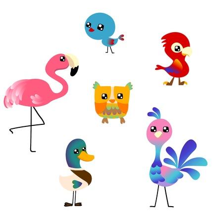 Many cute birds on white background